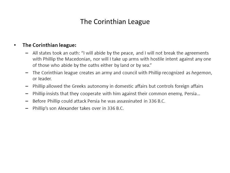 The Corinthian League The Corinthian league: