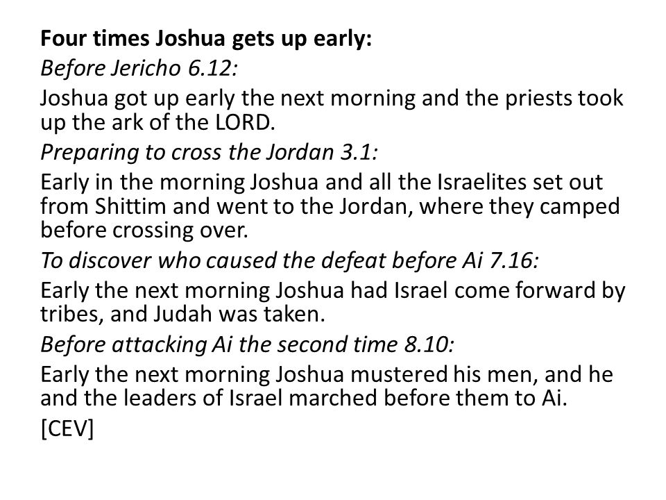 Four times Joshua gets up early: Before Jericho 6