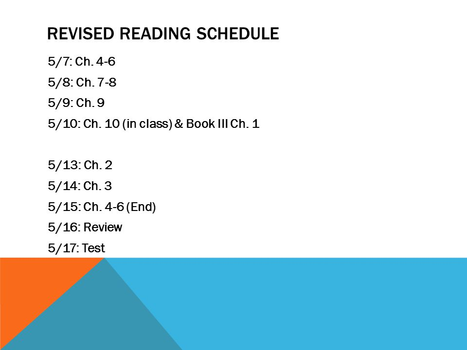 Revised Reading Schedule