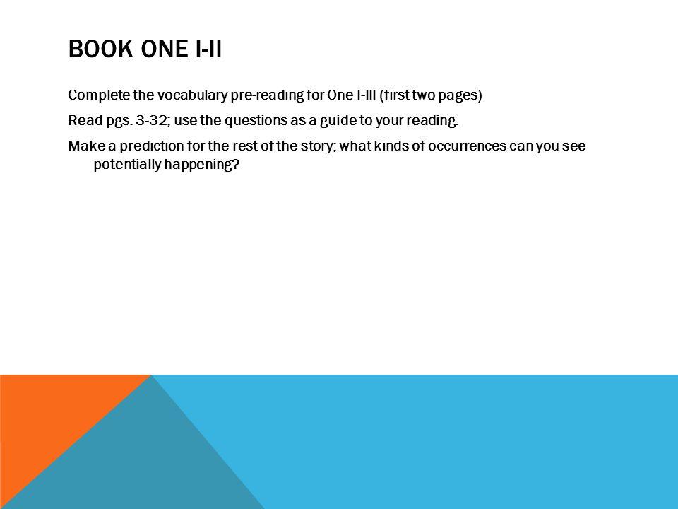 Book one I-II