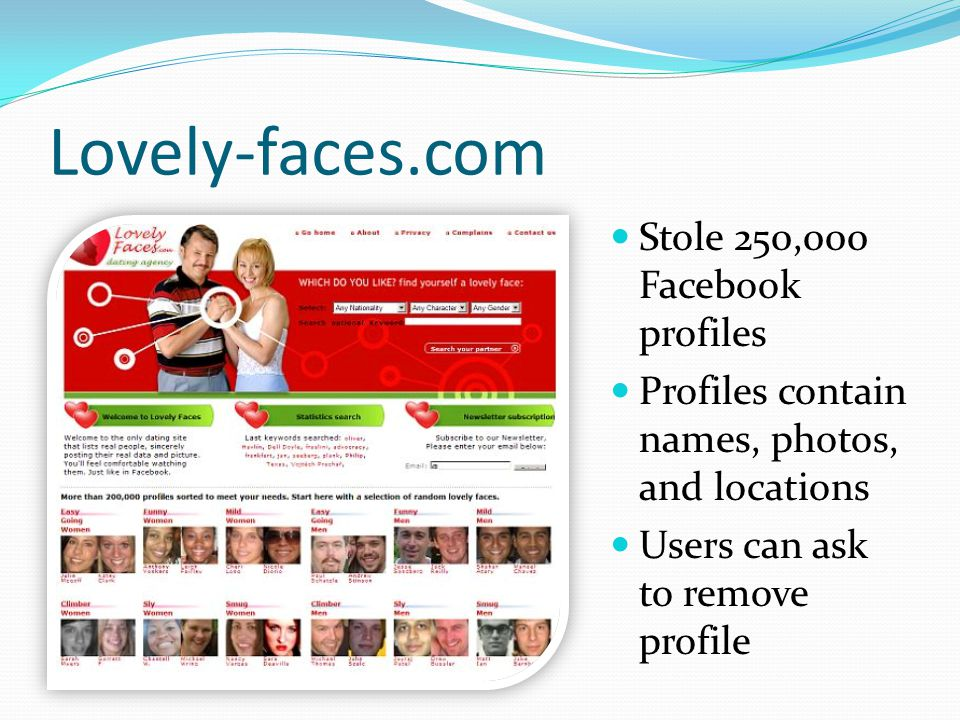 Lovely-faces.com Stole 250,000 Facebook profiles