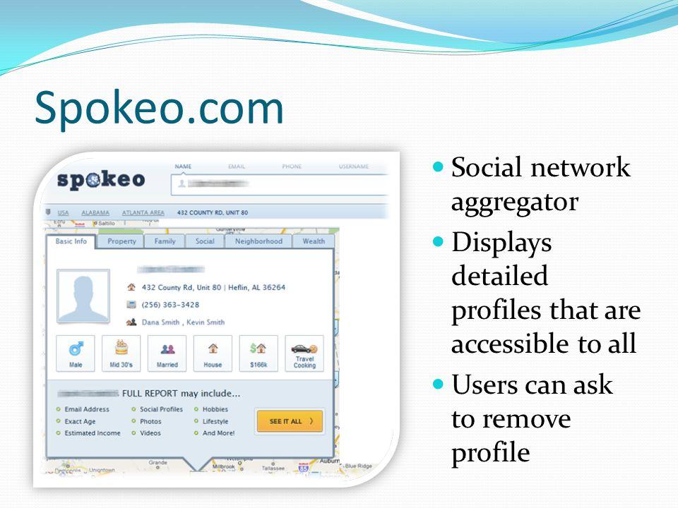 Spokeo.com Social network aggregator