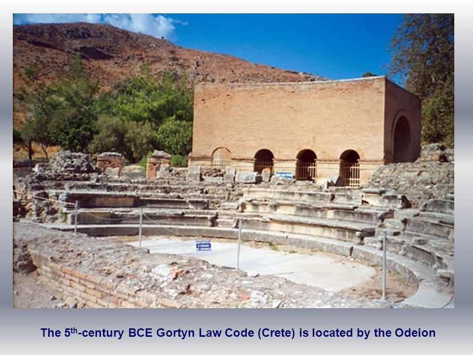 The 5th-century BCE Gortyn Law Code (Crete) is located by the Odeion