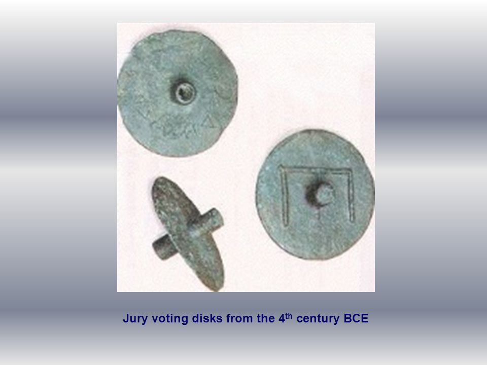 Jury voting disks from the 4th century BCE