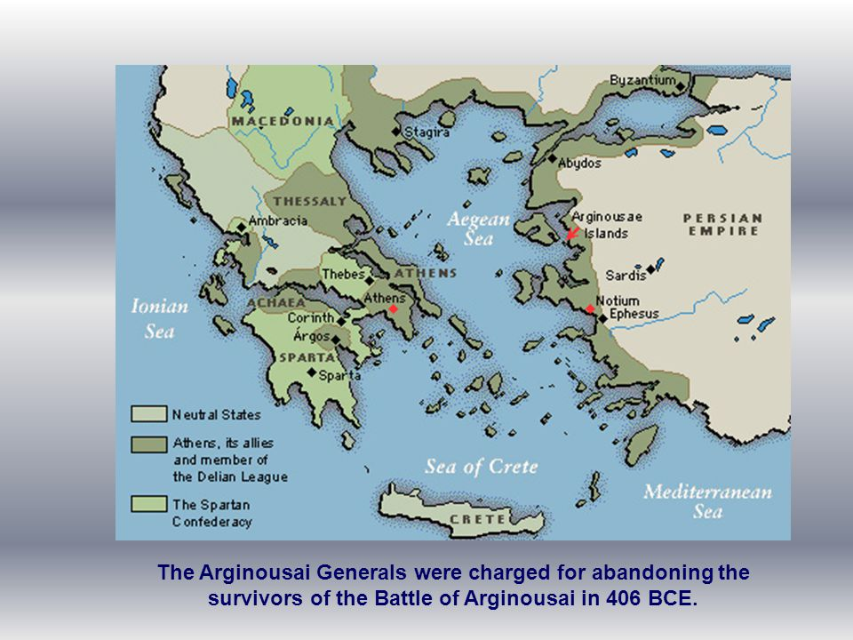 The Arginousai Generals were charged for abandoning the survivors of the Battle of Arginousai in 406 BCE.