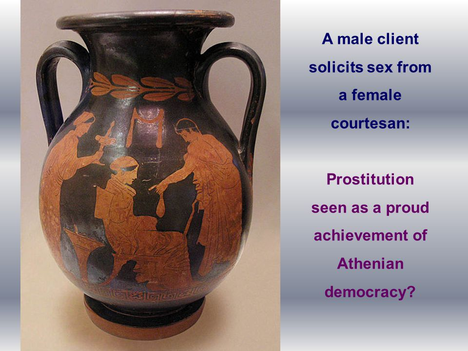 A male client solicits sex from a female courtesan: