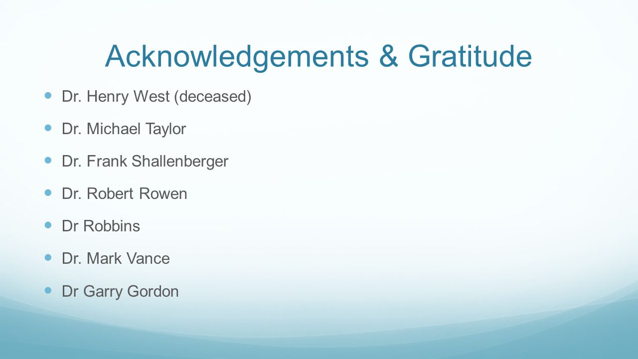 Acknowledgements & Gratitude