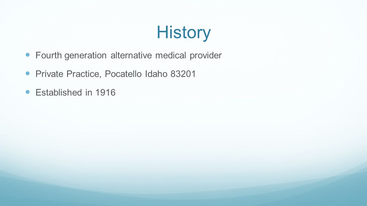 History Fourth generation alternative medical provider