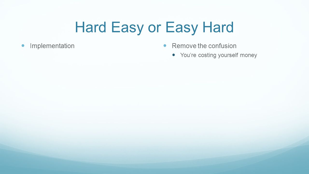 Hard Easy or Easy Hard Implementation Remove the confusion