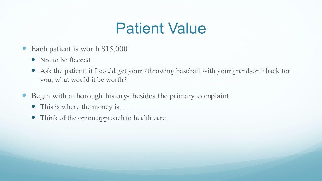 Patient Value Each patient is worth $15,000
