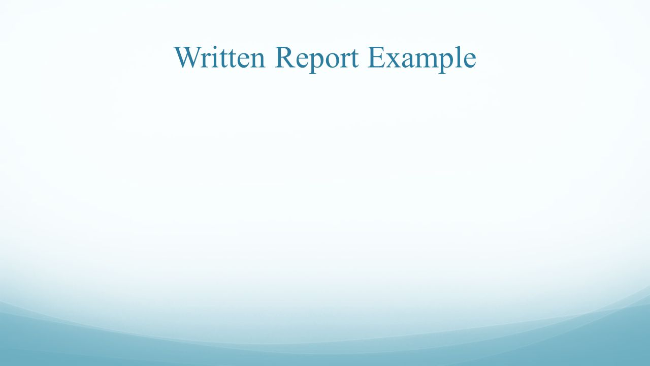 Written Report Example