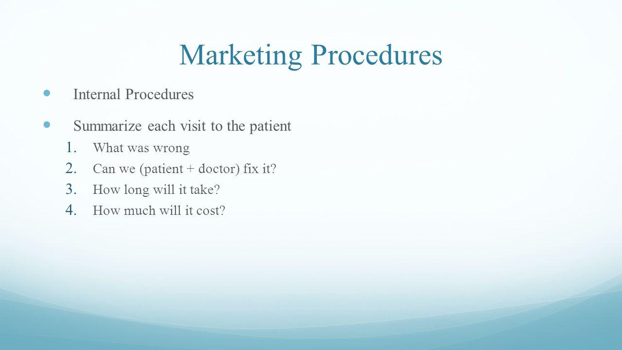Marketing Procedures Internal Procedures