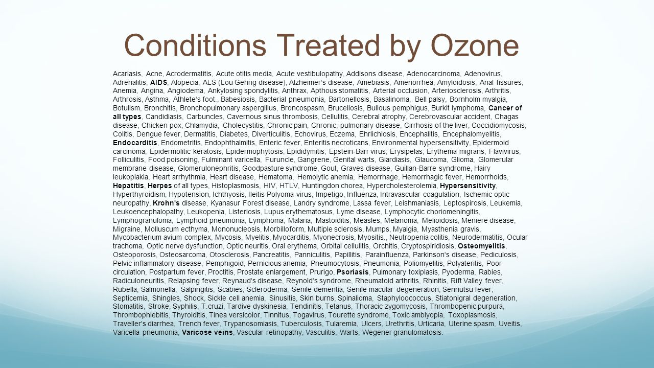 Conditions Treated by Ozone