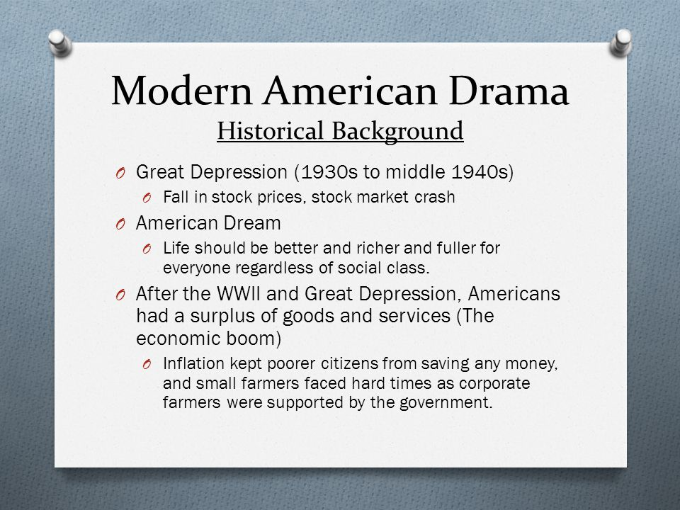 Modern American Drama Historical Background