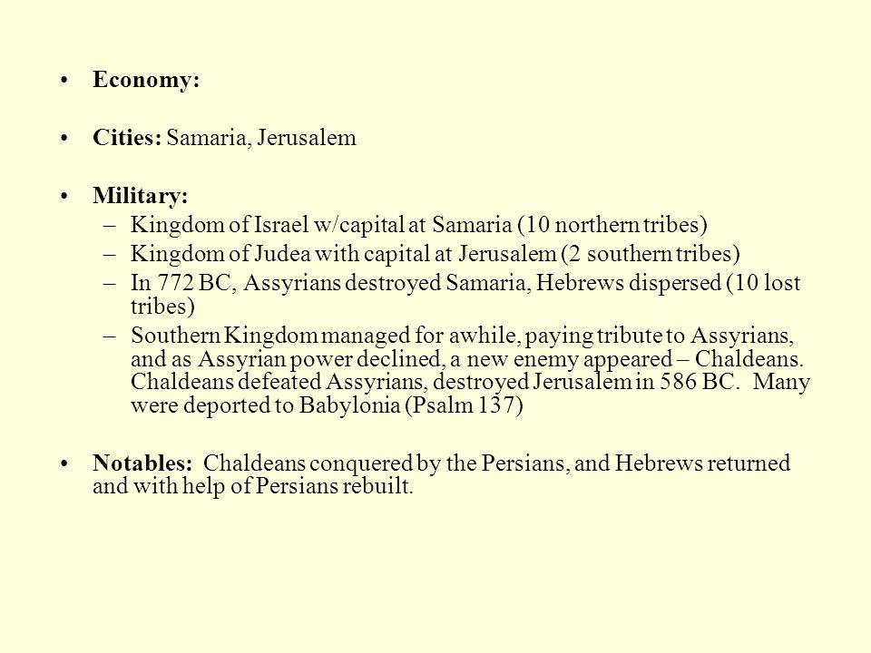 Economy: Cities: Samaria, Jerusalem. Military: Kingdom of Israel w/capital at Samaria (10 northern tribes)
