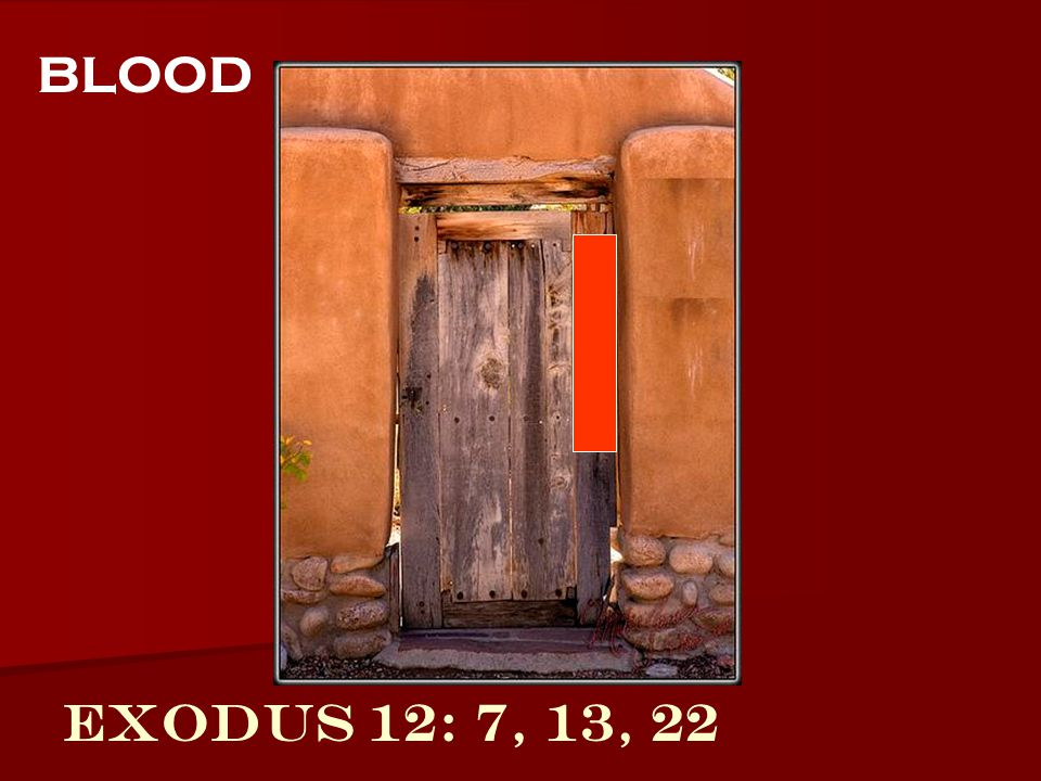 blood Exodus 12: 7, 13, 22