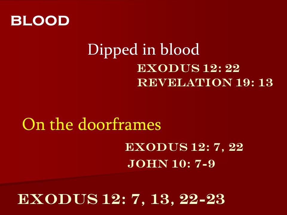 blood On the doorframes Dipped in blood Exodus 12: 7, 13, 22-23