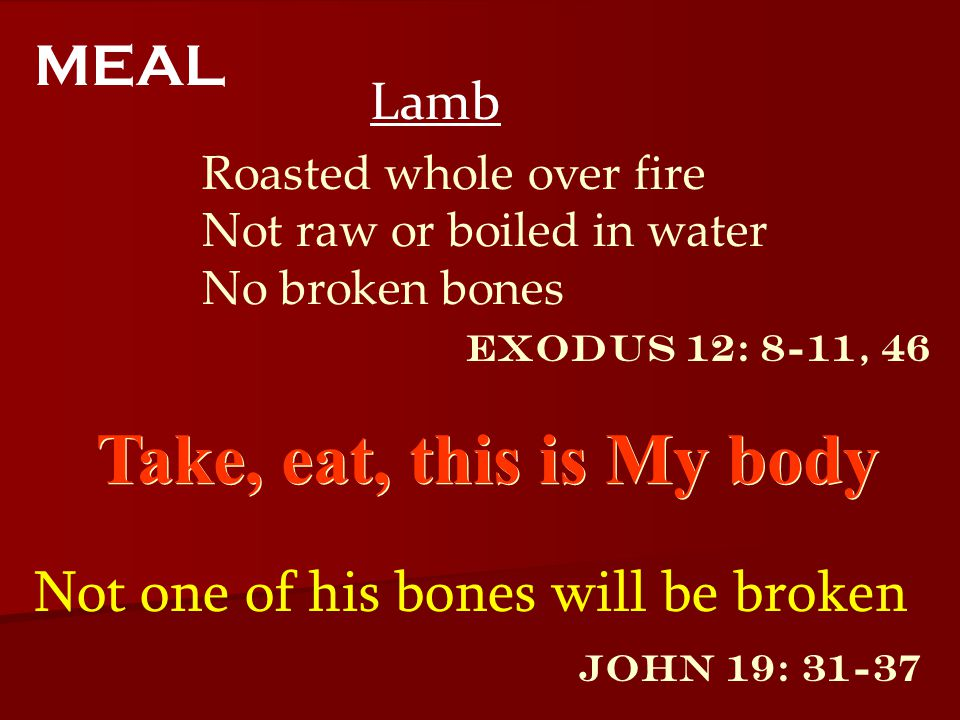Take, eat, this is My body MEAL Not one of his bones will be broken