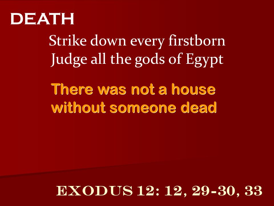 DEATH Strike down every firstborn Judge all the gods of Egypt