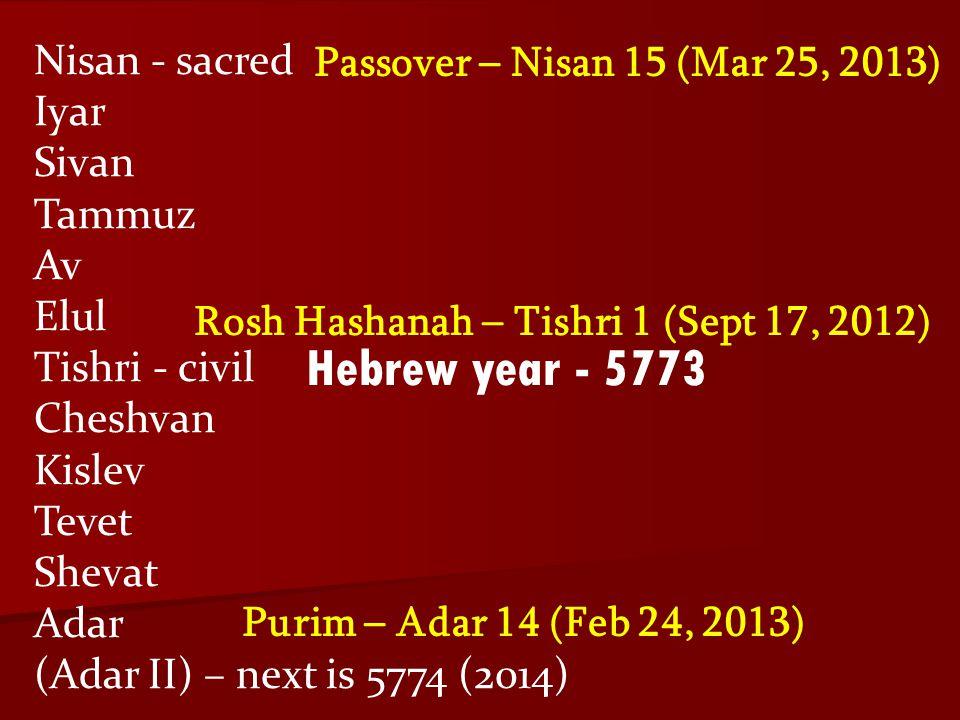 Hebrew year - 5773 Nisan - sacred Passover – Nisan 15 (Mar 25, 2013)