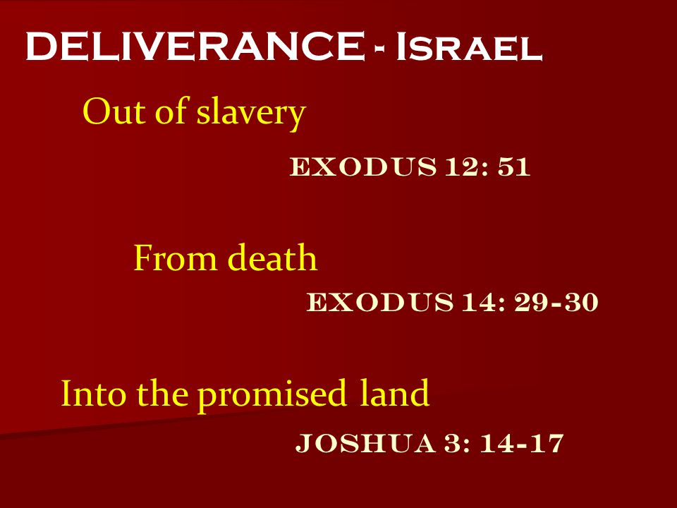 DELIVERANCE - Israel Out of slavery From death Into the promised land