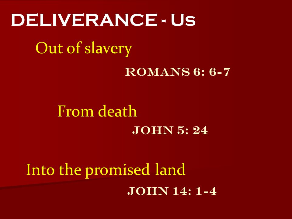 DELIVERANCE - Us Out of slavery From death Into the promised land