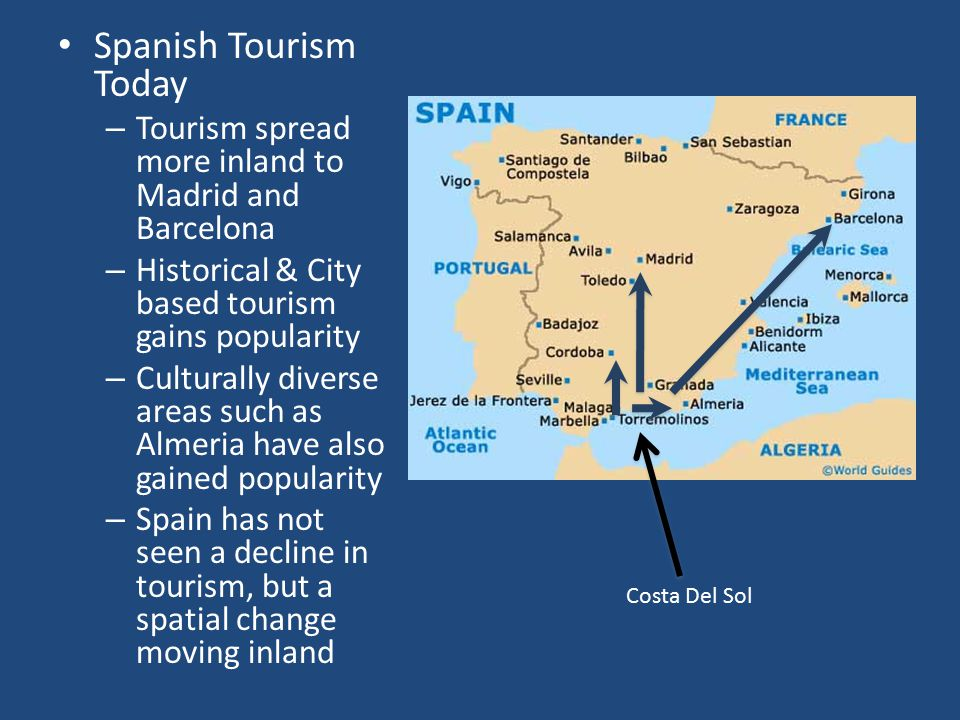 Spanish Tourism Today Tourism spread more inland to Madrid and Barcelona. Historical & City based tourism gains popularity.