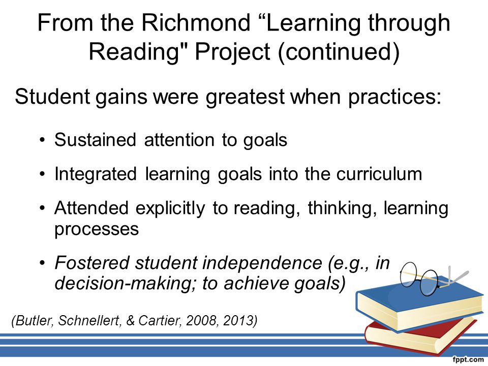 From the Richmond Learning through Reading Project (continued)