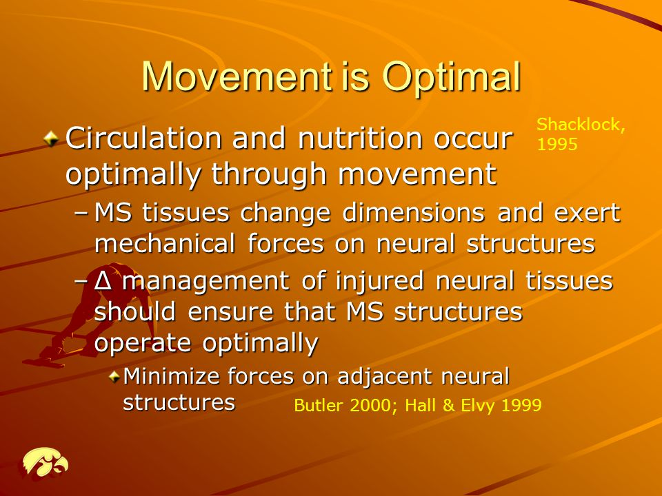 Movement is Optimal Shacklock, 1995. Circulation and nutrition occur optimally through movement.