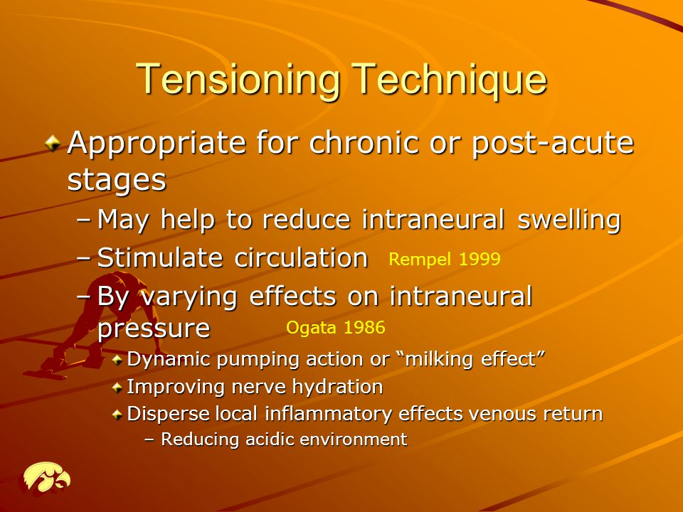 Tensioning Technique Appropriate for chronic or post-acute stages