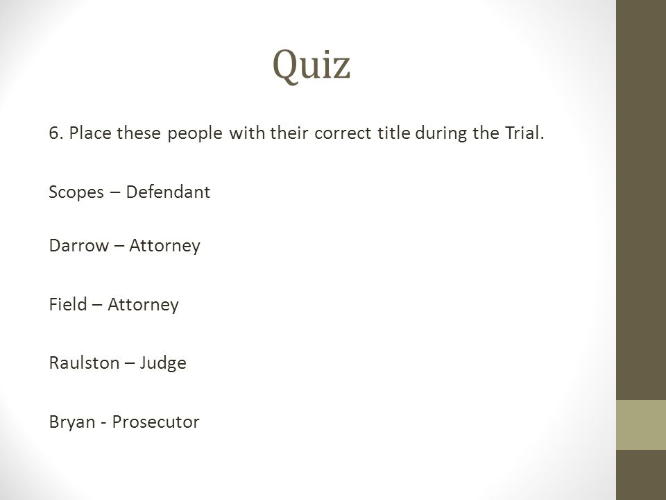 Quiz 6. Place these people with their correct title during the Trial.
