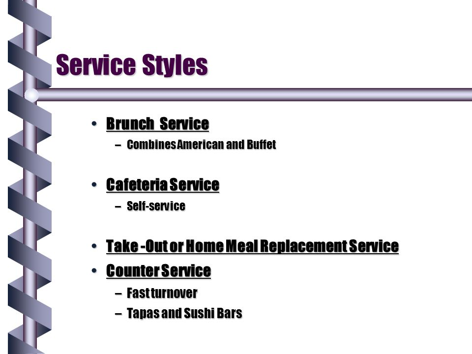 Service Styles Brunch Service Cafeteria Service