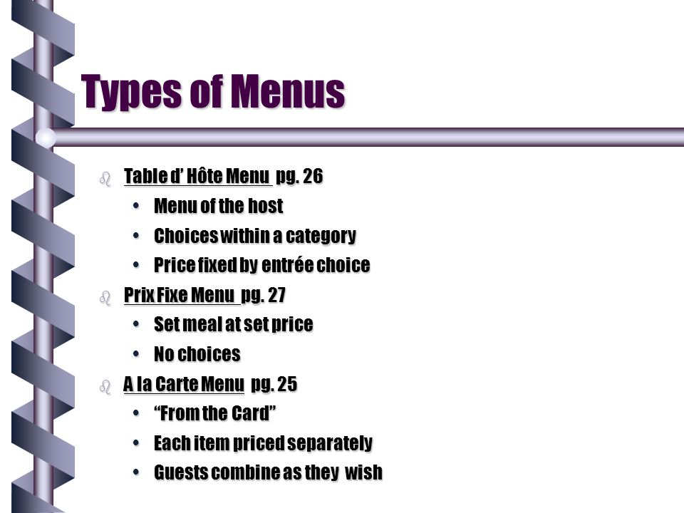 Styles of Table Service ppt video online download : TypesofMenusTabledE28099HC3B4teMenupg26Menuofthehost from slideplayer.com size 960 x 720 jpeg 66kB