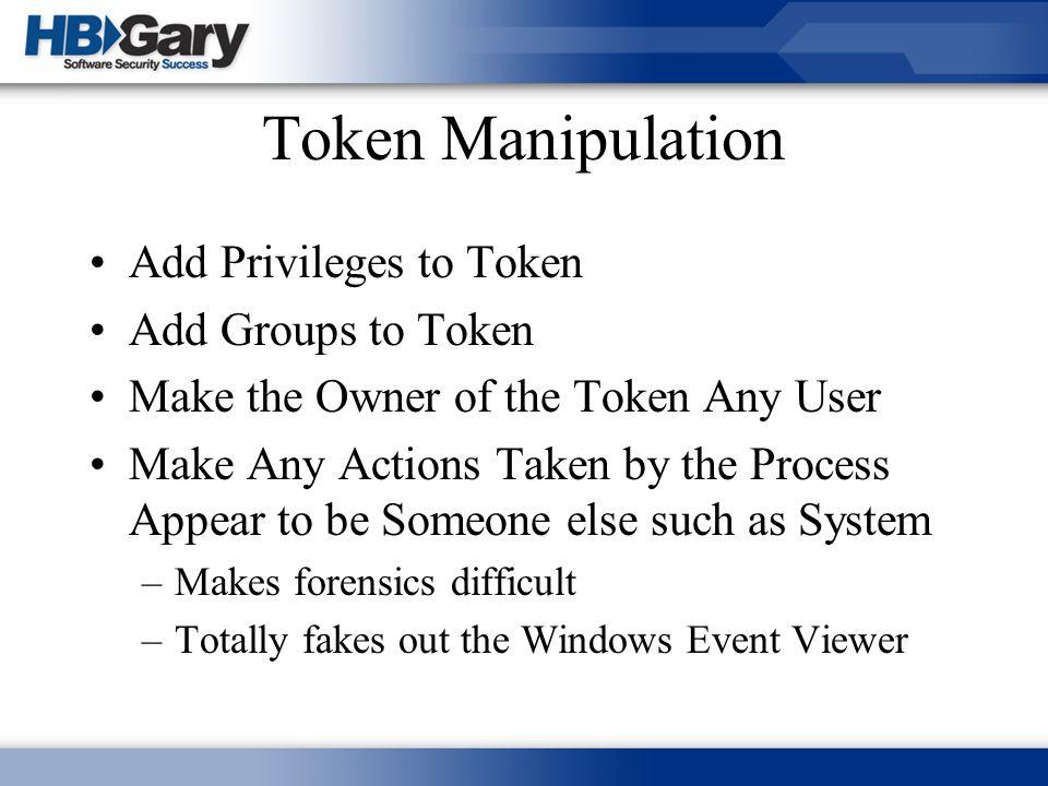 Token Manipulation Add Privileges to Token Add Groups to Token