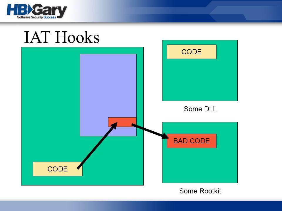IAT Hooks CODE Some DLL BAD CODE CODE Some Rootkit