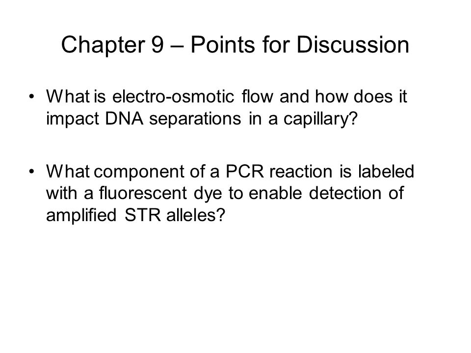 Chapter 9 – Points for Discussion