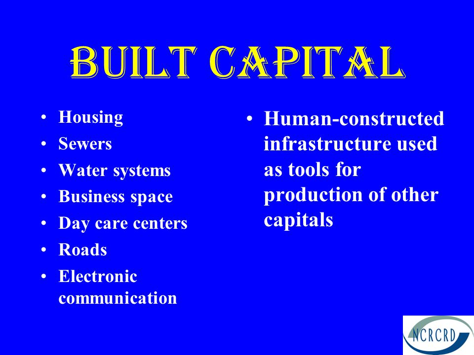 Built capital Housing. Sewers. Water systems. Business space. Day care centers. Roads. Electronic communication.