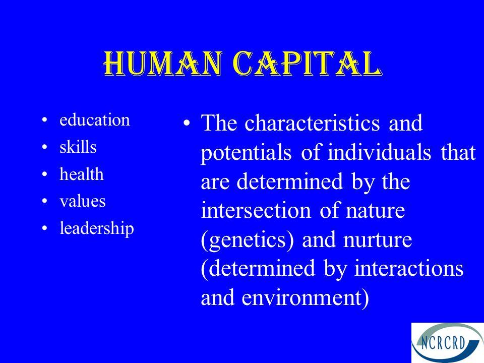 Human Capital education. skills. health. values. leadership.