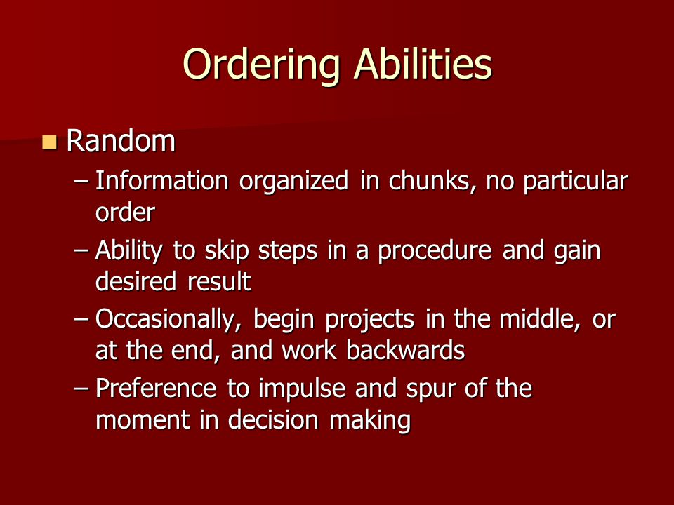 Ordering Abilities Random