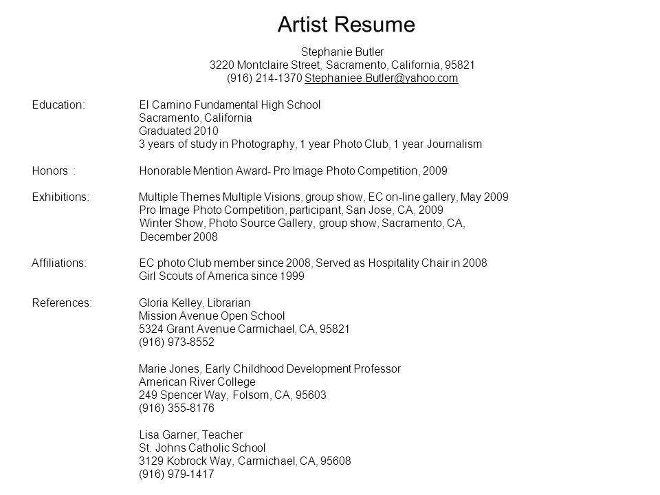 Artist Resume Stephanie Butler