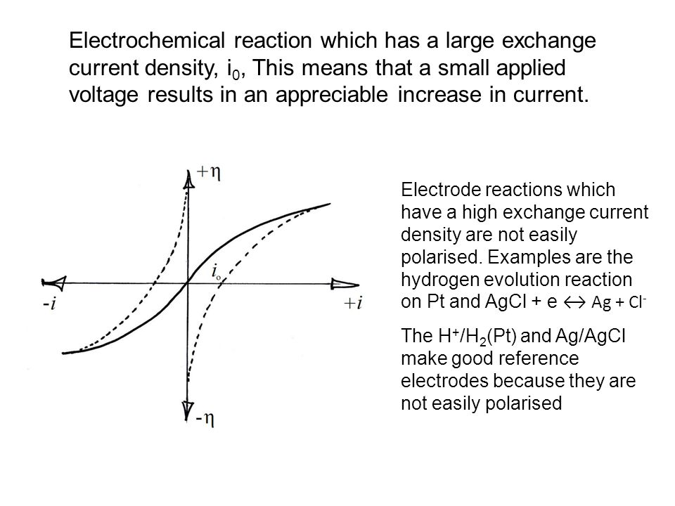 Electrochemical reaction which has a large exchange current density, i0, This means that a small applied voltage results in an appreciable increase in current.