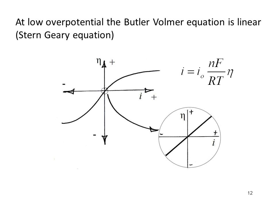 At low overpotential the Butler Volmer equation is linear (Stern Geary equation)