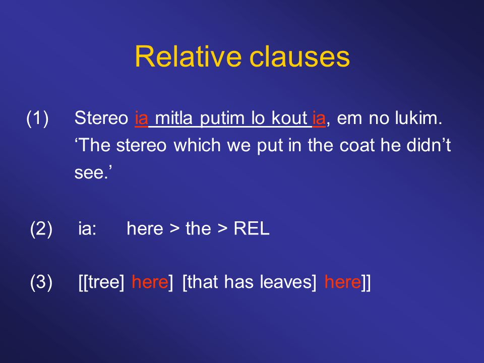 Relative clauses (1) Stereo ia mitla putim lo kout ia, em no lukim.