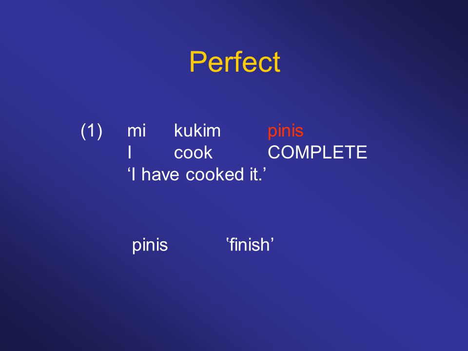 Perfect (1) mi kukim pinis I cook COMPLETE 'I have cooked it.'