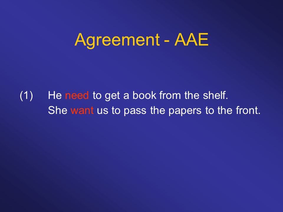 Agreement - AAE (1) He need to get a book from the shelf.