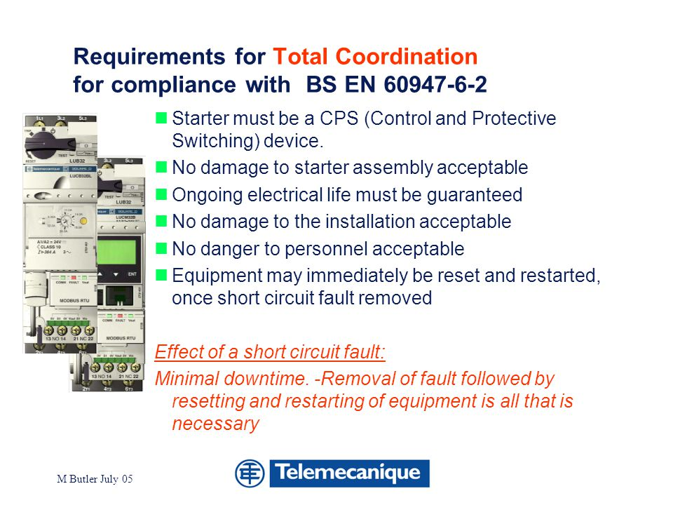 Requirements for Total Coordination for compliance with BS EN 60947-6-2