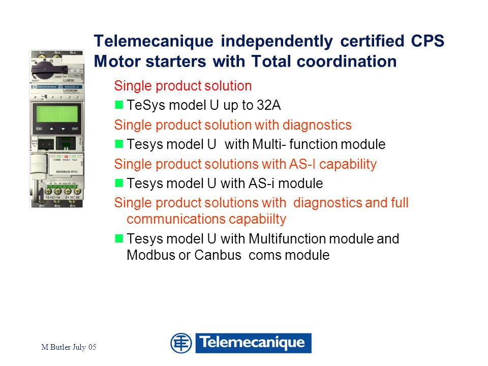 Telemecanique independently certified CPS Motor starters with Total coordination