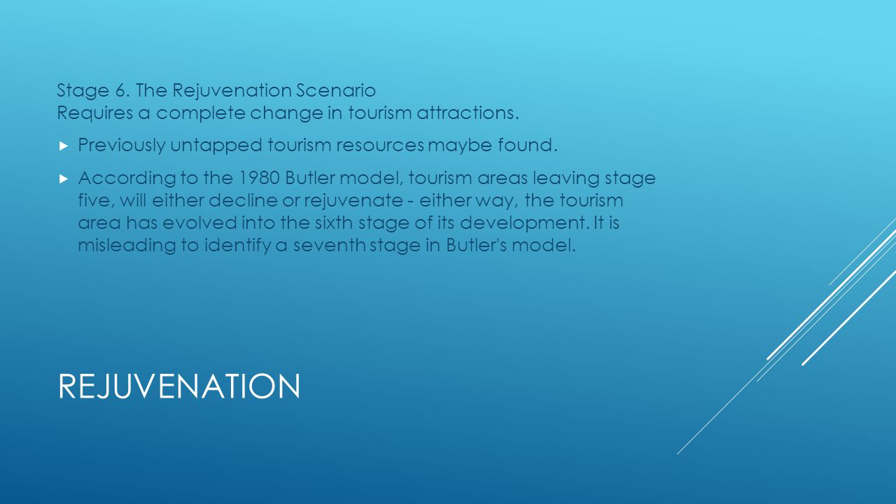 Stage 6. The Rejuvenation Scenario Requires a complete change in tourism attractions.