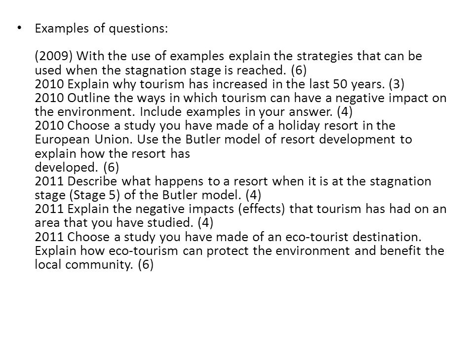 Examples of questions: (2009) With the use of examples explain the strategies that can be used when the stagnation stage is reached.