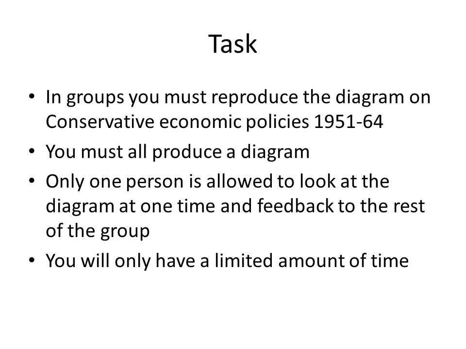 Task In groups you must reproduce the diagram on Conservative economic policies 1951-64. You must all produce a diagram.